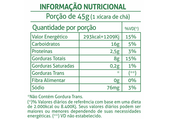 1 - Informação Nutricional Biscoito Palito Maisena